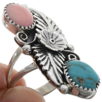 Coral Turquoise Pointer Ring 22162