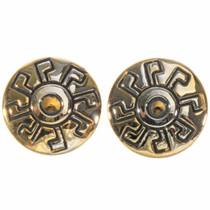 Hopi Style Gold Post Earrings 14494