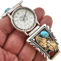 Navajo Mens Turquoise Coral Watch Gold Silver Tips