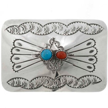 Turquoise Coral Belt Buckle 26323