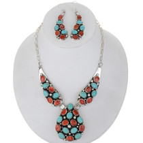 Turquoise Shell Silver Navajo Necklace 27903