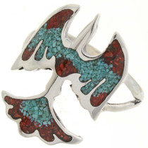 Turquoise Coral Inlaid Ring 27083