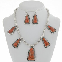 Apple Coral Silver Necklace Set 27768