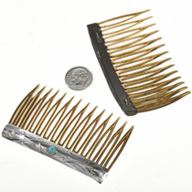 Native American Sterling Turquoise Hair Combs 26798
