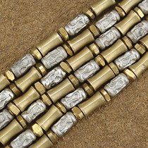 Wholesale Lot of 12 4mm Silver and Brass Bali Bead Strands