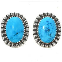 Turquoise Silver Stud Navajo Earrings 23428