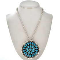 Petit Point Turquoise Silver Cluster Pendant Pin 28809