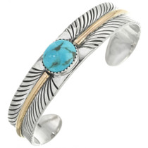 Navajo Turquoise Silver Gold Feather Cuff 29491