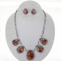Spiny Oyster Opal Turquoise Silver Necklace Set 27905