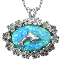 Blue Opal Silver Dolphin Pendant 29615