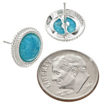 Navajo Turquoise Silver Post Earrings 26311