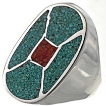 Turquoise Silver Mens Ring 27387