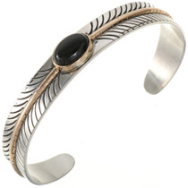 Black Onyx Sterling Gold Bracelet 28018