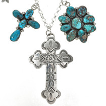 Genuine Bisbee Turquoise Silver Navajo Necklace Southwest Charm Design