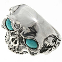 Silver Skull Turquoise Eyes 26741