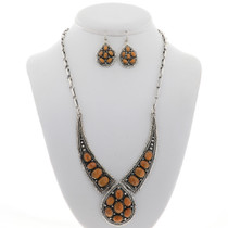 Coral Silver Necklace Set 27756
