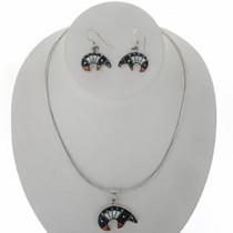 Jet Turquoise Opal Silver Bear Pendant Set 27764