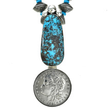 Navajo Turquoise Coin Necklace Old Pawn Style Removable Pendant 0009