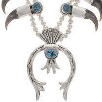 Kingman Turquoise Squash Blossom Necklace