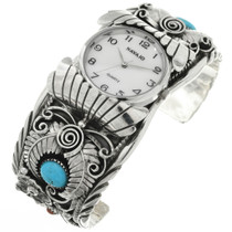 Mens Turquoise Coral Watch Cuff 16029