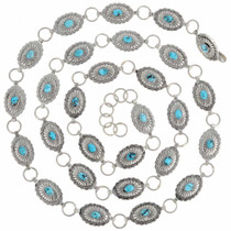 Turquoise Silver Link Concho Belt 22918