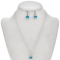 Pretty Turquoise Silver Pendant Set 29700