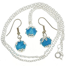 Silver Wrapped Bead Pendant Set 29700