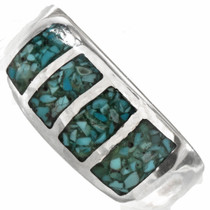 Inlaid Light Blue Turquoise Navajo Mens Ring 0166