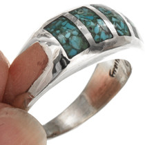 Inlaid Light Blue Turquoise Navajo Mens Ring Sterling Any Size