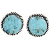 Navajo Turquoise Silver Earrings 28528