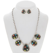Turquoise Coral Jet Silver Necklace 27867