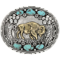 Gold Buffalo Turquoise Belt Buckle 23844