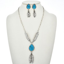 Turquoise Feather Necklace Set 27559