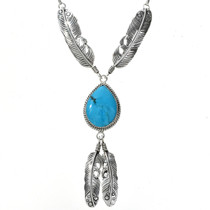 Turquoise Sterling Feather Pendant 27559