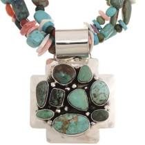 Navajo Silver Turquoise Cross Pendant 11554