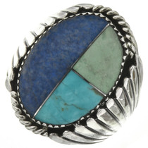 Turquoise Lapis Silver Mens Ring
