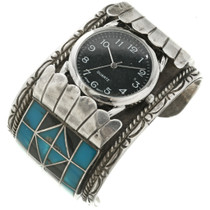 Turquoise Silver Watch Cuff  29425
