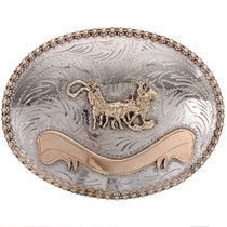 Silver Gold Team Roper Belt Buckle
