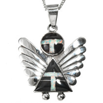 Inlaid Sterling Silver Angel Pendant 25923