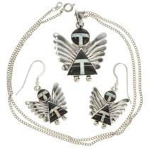 Onyx Silver Angel Pendant Earring Set 25923