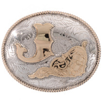 Gold Silver Initial Belt Buckle 28315