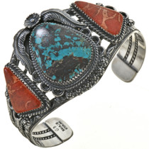 Turquoise Coral Silver Bracelet