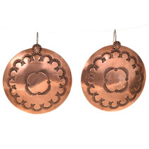 Navajo Hammered Copper Concho Earrings 22369