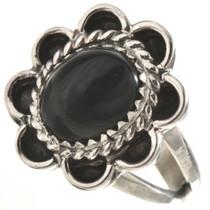 Black Onyx Silver Ladies Ring