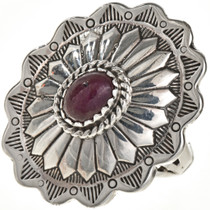 Ruby Silver Concho Ring