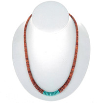 Navajo Apple Coral Turquoise Necklace 24779