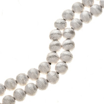 9mm Silver Findings Round Brush Finished Bali Beads 8-1/2 inch Long Strand 0117