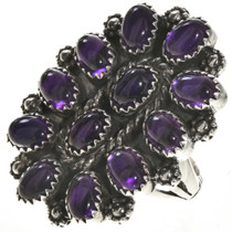Amethyst Cluster Silver Ring 2825