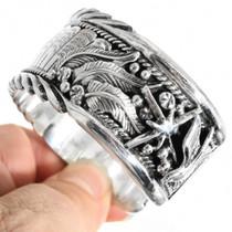 Navajo Hammered Silver Cuff Bracelet 16636