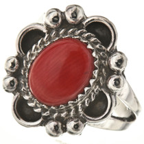 Oxblood Coral Silver Ladies Ring
